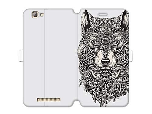 etuo ZTE Blade A612 - Hülle Wallet Book Fantastic - Azteken Wolf - Handyhülle Schutzhülle Etui Case Cover Tasche für Handy