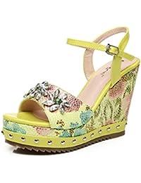 Hyun Times Zapatos Amarillos del Verano con Las Sandalias Impermeables de  La Tabla Imprimieron Los Zapatos 1c84c3944085