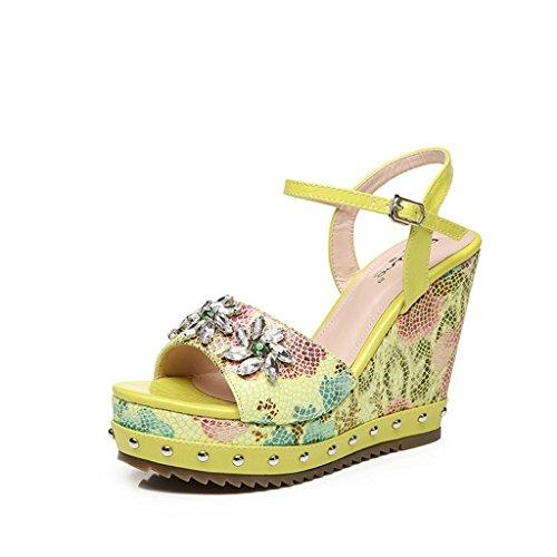 Hyun Times Chaussures D'Été Jaune avec Sandales à Table Imperméable Imprimées Chaussures à Talons Hauts