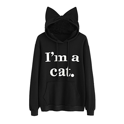 Bonboho Femme Sweat à Capuche Sweat-shirt Chat Slogan Imprimé Manche longue Hoodies Pull Hauts Tops S M L XL Noir