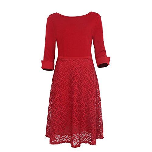 Mavis's Diary Femme Robe A Line Col Coton Polyester Rond Haut Taille 3/4 Manches Dentelle Longueur au Genoux Rouge