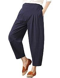 HEETEY Damenhosen,Mode Hosen Womens Baumwolle und Leinen Plus Size Pure  Farbe Lässige Hosentaschen Breitbeinige a8e3b26ceb