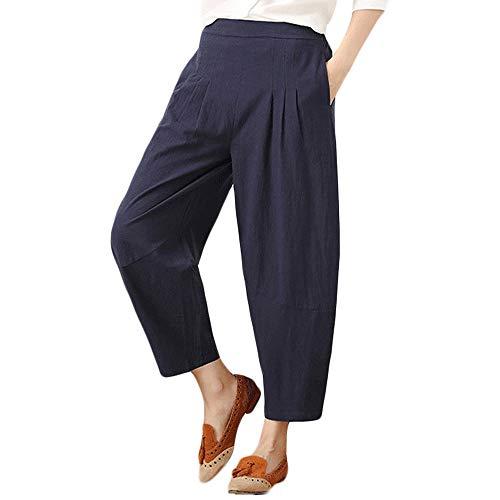 (Dorical Damen Hose, Beiläufig Baumwolle Beiläufig Breit Bein Hohe Taille Harem Tasche Solide Kalb Länge Hose für Frauen Große Förderung(EU 36/CN L,Blau))
