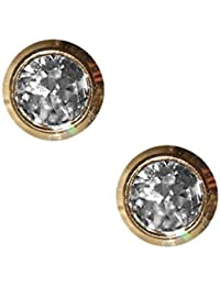 74afba458 Sterile Gold-Plated Stud Earrings Made from Surgical Steel, Frame with  Transparent Stone