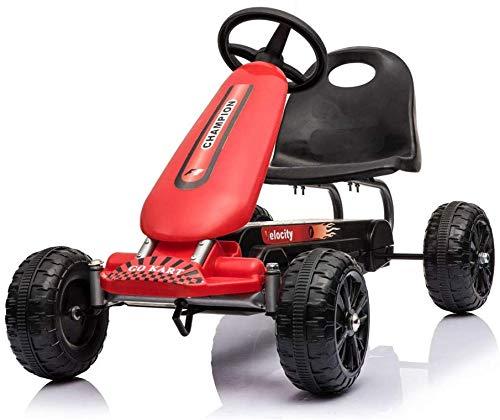 FEE-ZC Universal Design Kids Pedal Go-Kart Aufsitzauto mit aufblasbaren Reifen Verstellbarer Sitz Indoor Outdoor Für 5 bis 14 Jahre