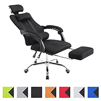 CLP Silla Racing Fellow Tapizada En Red I Silla Gaming con Soporte Metal Cromado & con Ruedas I Silla De Oficina Regulable En Altura I Color: Naranja
