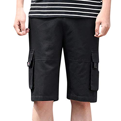 Pantalones Cortos para Hombre Verano Cargo Shorts Chinos Bermuda Deporte Short Pantalón Sweatpant Gym Leisure Elástico ZOELOVE Peto Bolsillo con Cintura elástica Regular Pantalones/Black,4XL