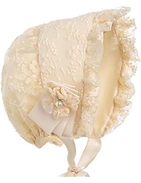 Hanakimi ® Spitzen Taufe Motorhaube mit Abnehmbaren Blume Handgefertigte (Newborn-3 Jahre)