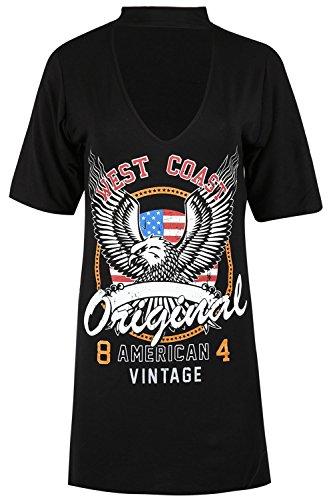 Oops Outlet Damen Halsband Hals Westküste Original Bedruckt Übergröße Top Kurzärmlig Baggy T-shirt Kleid Schwarz