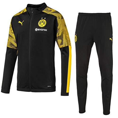 PUMA Fußball BVB Borussia Dortmund Trainingsanzug 2019 20 Polyesteranzug Kinder Gr 152