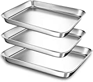 Baking Sheet Pans for Toaster Oven, Small Stainless Steel Cookie Sheets Metal Bakeware Pan, Sturdy & Heavy