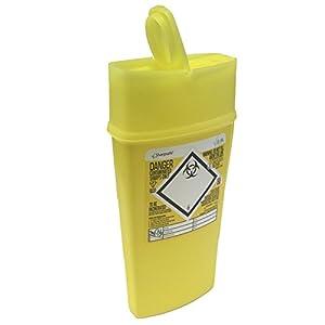 Sharpsafe Behälter für medizinische Abfälle, gelb, 0,6l, für Spritzen, Nadeln, klinische Abfälle, gekennzeichnet, Abfallsammler für scharfe und spitze Gegenstände, Mülleimer