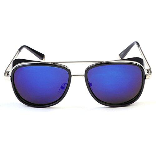 hibote Homme Femme Steampunk Lunettes de soleil Vintage Cadre Noir/bleu R¨¦fl¨¦chissant