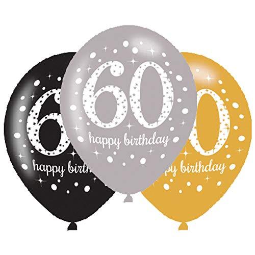 Amscan 9900741 Latexballons Alter 60, 27,5 cm, Packung mit 6 Stück (Wetter Frau Kostüm)