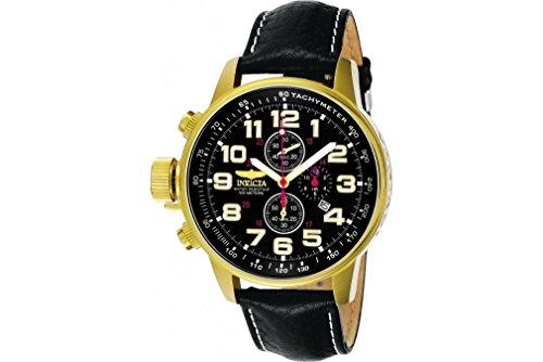 Invicta Unisex 3330 Black Leather Quartz Watch with Black Dial