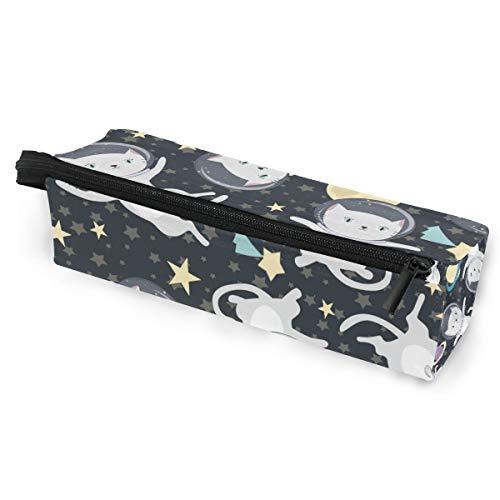 Sonnenbrillen Soft Protector Box Rhombus Federmäppchen Tasche Katze Fliegen im Weltraum Multifunktionstasche mit Reißverschluss für Studenten, Kinder, Teenager, Mädchen, Frauen, Männer, Jungen