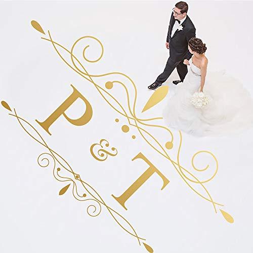 Woyaofal adesivo in vinile per pista da ballo festa di nozze decalcomania per pista da ballo in oro nome personalizzato decorazione fai da te 105x57cm