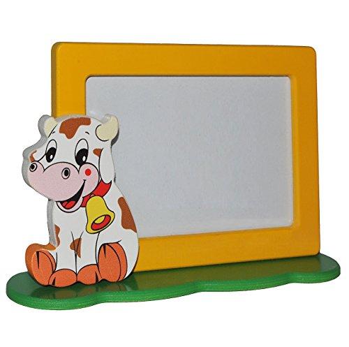 3-D Fotorahmen / Bilderrahmen aus Holz - Kuh - mit 1 Bild - 10 x 15 cm - zum Hinstellen - Tischaufsteller - Deko für Kinder + Erwachsene - Kinderzimmer Kind Tisch Stehrahmen / Holzbilderrahmen - Tiere Glocke