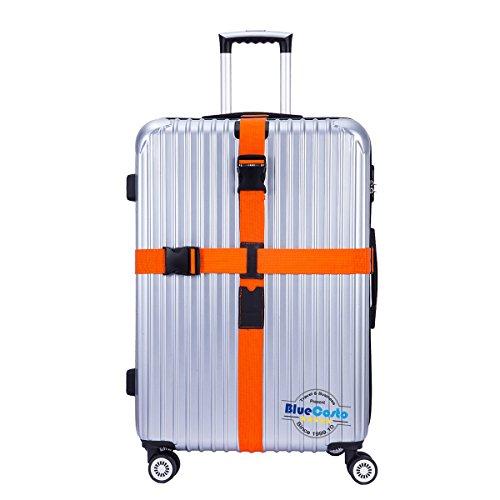 CSTOM® (Naranja) Largo Ajustable Cruz Correa de Seguridad Para Equipaje 600001-ORG