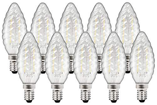 10er PACK - LED Filament Leuchtmittel Kerze TWIST E14 4W 380lm 360° - warmweiß (2700 K) -