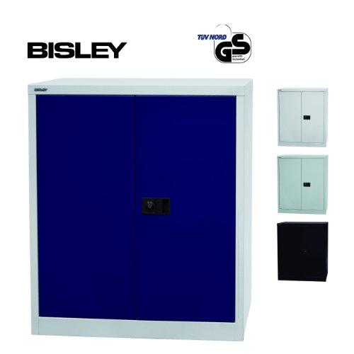 BISLEY Aktenschrank | Werkzeugschrank | Flügeltürenschrank aus Metall abschließbar inkl. Einlegeboden | Stahlschrank in Licht grau / Oxford blau (Licht Oxford Grau)