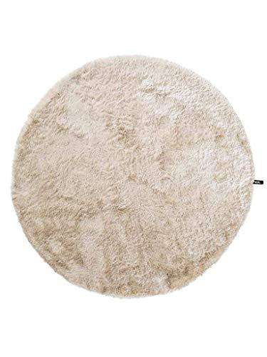 benuta Shaggy Hochflor Teppich Whisper Beige ø 80 cm rund | Langflor Teppich für Schlafzimmer und Wohnzimmer