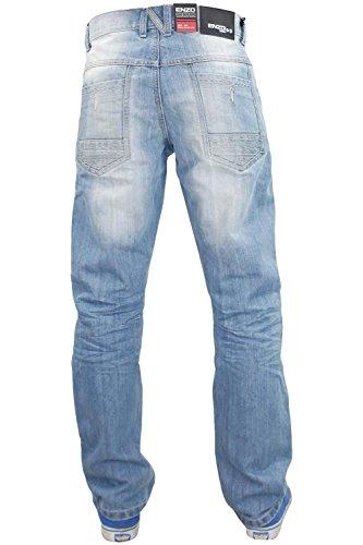Nouveau Hommes Enzo EZ355 Jeans Regular Fit occidentaux Pantalons Light Stone Wash