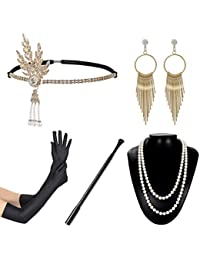 1920s Flapper Accessories Set Women Vintage Headband Necklace Gloves Cigar Holder Earrings Gatsby Costume for Roaring