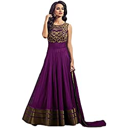 Super Deal Woman's Blue Georgette Anarkali Unstitched Free Size XXL Salwar Suits Sets Dress (Indian Clothing)(S2117)