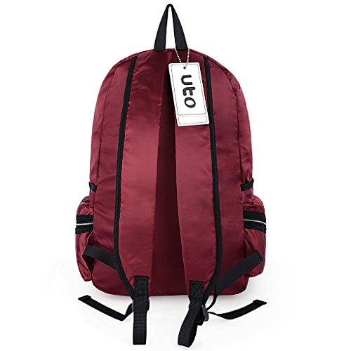 UTO Laptop Backpack Oxford wasserdichte Kleider Nylon Unisex Rucksack Schule Student Buchtasche Reise Bag Schultertasche rot rot