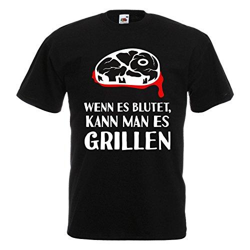 Cooles Grill BBQ T-Shirt - lustige Fun Sprüche - Party Kochen Smoker Geschenk Wenn es blutet, kann man es Grillen - Kochen Bbq