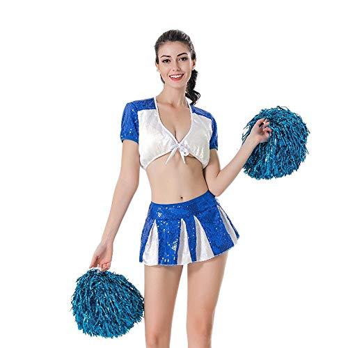 MCO%SISTSR Cheerleader-Kostüm,Mädchen-Cheerleaderuniform Paillettenbesetzte Rockblusenfußball-Basketball-Highschoolsport-Wettbewerbstanzleistung,Blau,XL