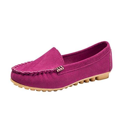 FNKDOR Damen Mokassin Slipper Halbschuhe Espadrilles Flach Schuhe (36, Rosa)