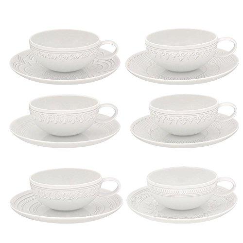 Vista Alegre - Juego de 6 tazas de té y platillos, porcelana