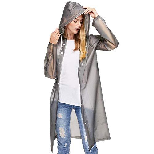 Sycle circle impermeabile trasparente riutilizzabile con cappuccio e maniche, poncho antipioggia di emergenza cappotto da pioggia unisex (grigio, l)