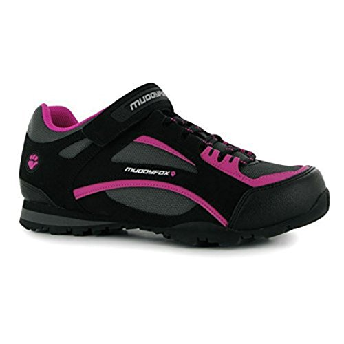 Muddyfox Womens TOUR100 Low Ladies Cycling Shoes Sport Cycle Trainers Black/Char/Pink UK 8