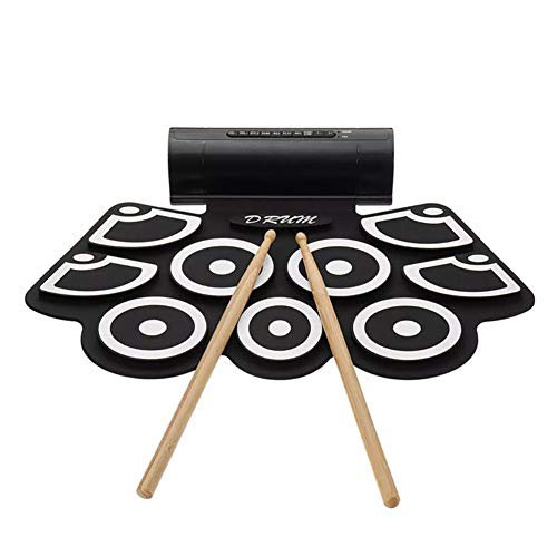 Ausgezeichnete Haltbarkeit E-Drum Pad Kits 9 Schlag Tragbare Eingebauter Lautsprecher Roll Up