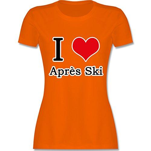 Après Ski - I love Après Ski weiße Kontur - tailliertes Premium T-Shirt mit Rundhalsausschnitt für Damen Orange