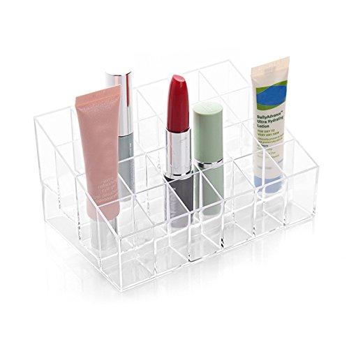 lzndeal Support Présentoir de Rouge à Lèvres à 24 Compartiments en Acrylique Transparent Organisateur de Cosmétique Maquillage Lipstick Display Stand