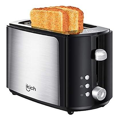 IKICH-Toaster-2-Scheiben-integrierter-Brtchenaufsatz-Automatik-Toaster-6-BrunungsstufenBrotzentrierung-Krmelschublade-Auftau-Aufwrm-Stopp-Funktion
