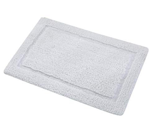 Preisvergleich Produktbild Phcom rutschfeste Matte - Saugfähiges Fußpolster,  Teppichmatte aus Baumwolle / Quadrat / Bad,  Teppich-Eingangsmatte,  Weiche Duschmatte,  Umweltschutz für Innen und Außen,  grau_50x 80 cm, Weiß.
