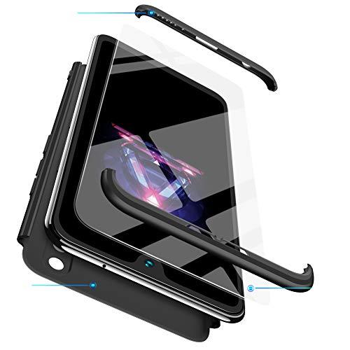FMPC Cover per Oneplus 5T, Custodia in PC Rigida con 3D Vetro Temperato Struttura[3 in 1] Bumper Finitura Opaca Corpo Intero Ultra Slim Case Antiurto AntiGraffio-Nero