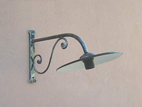Lampada a braccio da parete in ferro battuto 1121, forgiato a mano, nero patinato argento, con piatto smaltato, portalampade e27