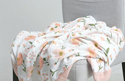 Baby Floral Kleinkind Decke–4Schichten Infant Waddle Decke, Bambus Baumwolle Alles Decke, Musselin Kinderwagen Decke für Baby Mädchen