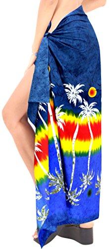 avvolgere costume da bagno swimwear delle signore pareo beachwear sarong gonna hawaiian coprire fino donne vestito di bagno blu navy
