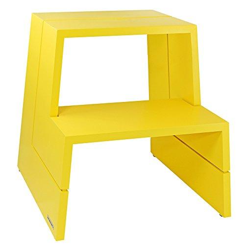 Preisvergleich Produktbild NATUREHOME Design Tritthocker Massivholz Buche gelb Hocker Sitzhocker Trittschemel Holz