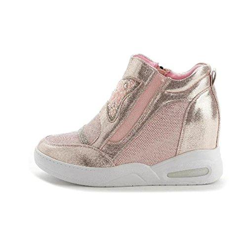 Sportliche Damen Sneaker-Wedges Zipper High Top Sneakers Keilabsatz Pink