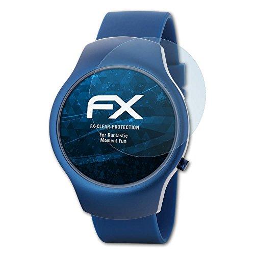 atFoliX Schutzfolie kompatibel mit Runtastic Moment Fun Folie, ultraklare FX Bildschirmschutzfolie (3X)