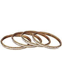 Zeneme Collection Shiny Stones Studded Designer Bangles Pair In Gold Plating Jewellery For Women…