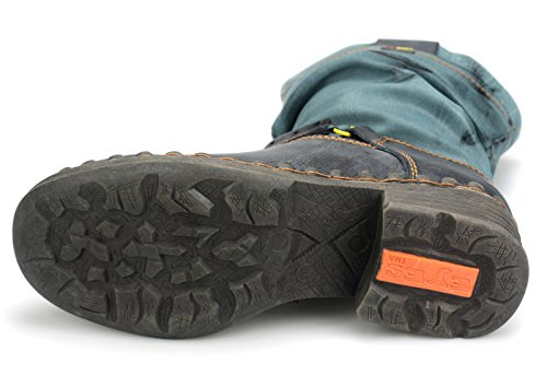 TMA Damen Winter Stiefel Boots Gefüttert Winterstiefel 5005 Schwarz/Jeans